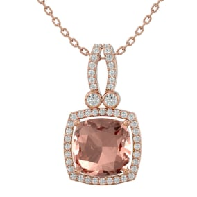 3 1/3 Carat Cushion Cut Morganite and Halo Diamond Necklace In 14 Karat Rose Gold, 18 Inches