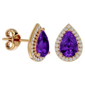 2 1/3 Carat Amethyst and Diamond Pear Shape Stud Earrings In 14 Karat Yellow Gold