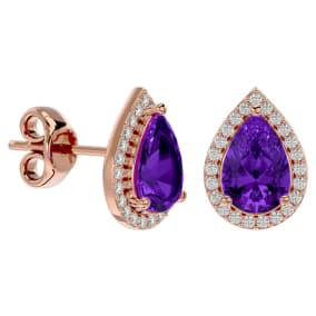 2 1/3 Carat Amethyst and Diamond Pear Shape Stud Earrings In 14 Karat Rose Gold