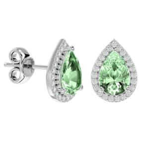 2 1/3 Carat Green Amethyst and Diamond Pear Shape Stud Earrings In 14 Karat White Gold