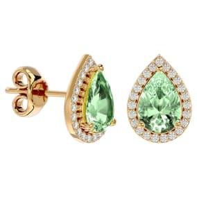 2 1/3 Carat Green Amethyst and Diamond Pear Shape Stud Earrings In 14 Karat Yellow Gold