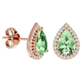 2 1/3 Carat Green Amethyst and Diamond Pear Shape Stud Earrings In 14 Karat Rose Gold