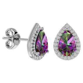 2 1/3 Carat Mystic Topaz and Diamond Pear Shape Stud Earrings In 14 Karat White Gold