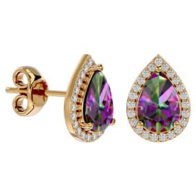 2 1/3 Carat Mystic Topaz and Diamond Pear Shape Stud Earrings In 14 Karat Yellow Gold
