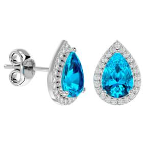3 1/4 Carat Blue Topaz and Diamond Pear Shape Stud Earrings In 14 Karat White Gold