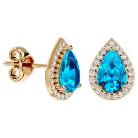 3 1/4 Carat Blue Topaz and Diamond Pear Shape Stud Earrings In 14 Karat Yellow Gold
