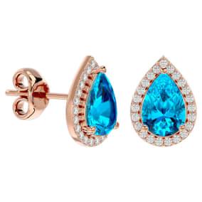 3 1/4 Carat Blue Topaz and Diamond Pear Shape Stud Earrings In 14 Karat Rose Gold