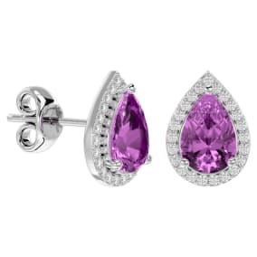 3 1/4 Carat Pink Topaz and Diamond Pear Shape Stud Earrings In 14 Karat White Gold