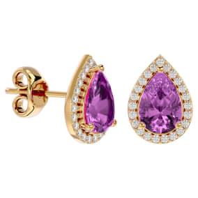 3 1/4 Carat Pink Topaz and Diamond Pear Shape Stud Earrings In 14 Karat Yellow Gold