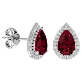 2 1/3 Carat Garnet and Diamond Pear Shape Stud Earrings In 14 Karat White Gold