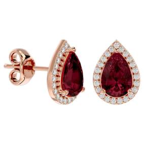 2 1/3 Carat Garnet and Diamond Pear Shape Stud Earrings In 14 Karat Rose Gold