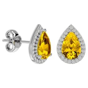 2 1/3 Carat Citrine and Diamond Pear Shape Stud Earrings In 14 Karat White Gold