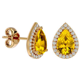2 1/3 Carat Citrine and Diamond Pear Shape Stud Earrings In 14 Karat Yellow Gold