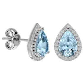 2 1/2 Carat Aquamarine and Diamond Pear Shape Stud Earrings In 14 Karat White Gold