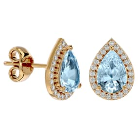 2 1/2 Carat Aquamarine and Diamond Pear Shape Stud Earrings In 14 Karat Yellow Gold