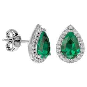 2 1/2 Carat Emerald and Diamond Pear Shape Stud Earrings In 14 Karat White Gold