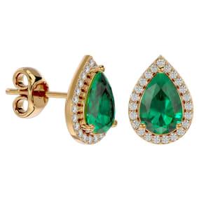 2 1/2 Carat Emerald and Diamond Pear Shape Stud Earrings In 14 Karat Yellow Gold