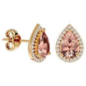 2 1/2 Carat Morganite and Diamond Pear Shape Stud Earrings In 14 Karat Yellow Gold