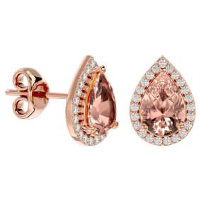 2 1/2 Carat Morganite and Diamond Pear Shape Stud Earrings In 14 Karat Rose Gold