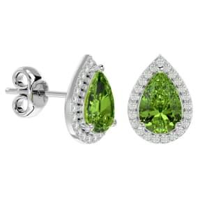 2.85 Carat Peridot and Diamond Pear Shape Stud Earrings In 14 Karat White Gold
