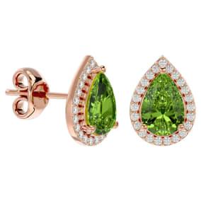 2.85 Carat Peridot and Diamond Pear Shape Stud Earrings In 14 Karat Rose Gold