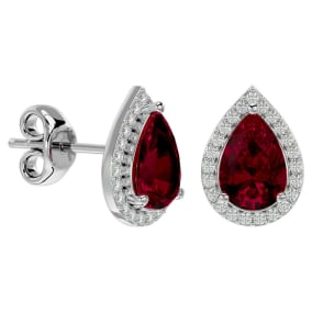 3 1/3 Carat Ruby and Diamond Pear Shape Stud Earrings In 14 Karat White Gold