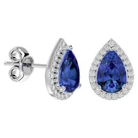 2 3/4 Carat Tanzanite and Diamond Pear Shape Stud Earrings In 14 Karat White Gold