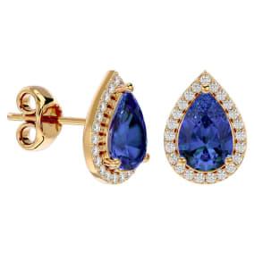 2 3/4 Carat Tanzanite and Diamond Pear Shape Stud Earrings In 14 Karat Yellow Gold