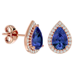 2 3/4 Carat Tanzanite and Diamond Pear Shape Stud Earrings In 14 Karat Rose Gold