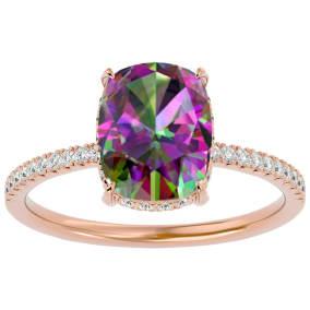 3 3/4 Carat Antique Cushion Shape Mystic Topaz and Hidden Halo Diamond Ring In 14 Karat Rose Gold