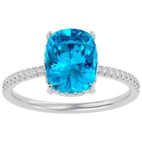 3 3/4 Carat Antique Cushion Shape Blue Topaz and Hidden Halo Diamond Ring In 14 Karat White Gold