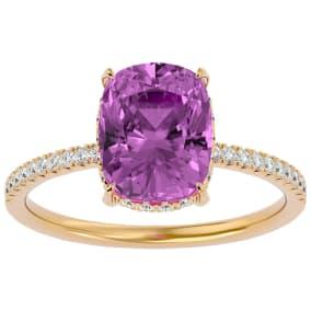 3 3/4 Carat Antique Cushion Shape Pink Topaz and Hidden Halo Diamond Ring In 14 Karat Yellow Gold