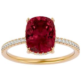 3 3/4 Carat Antique Cushion Shape Garnet and Hidden Halo Diamond Ring In 14 Karat Yellow Gold