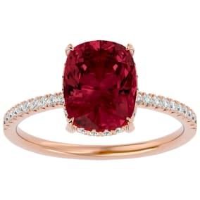 3 3/4 Carat Antique Cushion Shape Garnet and Hidden Halo Diamond Ring In 14 Karat Rose Gold