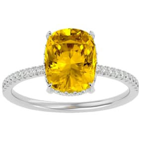 2 3/4 Carat Antique Cushion Shape Citrine and Hidden Halo Diamond Ring In 14 Karat White Gold