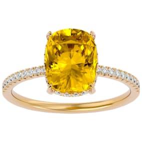 2 3/4 Carat Antique Cushion Shape Citrine and Hidden Halo Diamond Ring In 14 Karat Yellow Gold