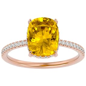 2 3/4 Carat Antique Cushion Shape Citrine and Hidden Halo Diamond Ring In 14 Karat Rose Gold