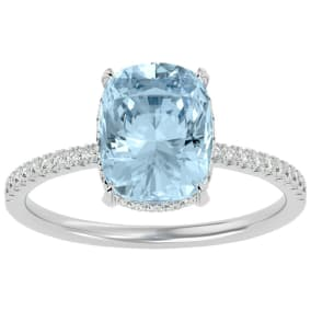 3 1/2 Carat Antique Cushion Shape Aquamarine and Hidden Halo Diamond Ring In 14 Karat White Gold