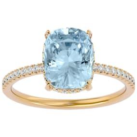 3 1/2 Carat Antique Cushion Shape Aquamarine and Hidden Halo Diamond Ring In 14 Karat Yellow Gold