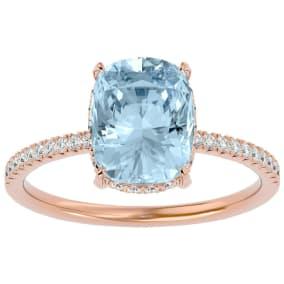 3 1/2 Carat Antique Cushion Shape Aquamarine and Hidden Halo Diamond Ring In 14 Karat Rose Gold
