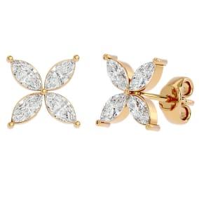 3/4 Carat Marquise Shape Moissanite Cluster Stud Earrings In 14 Karat Yellow Gold