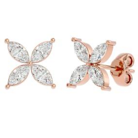 3/4 Carat Marquise Shape Moissanite Cluster Stud Earrings In 14 Karat Rose Gold
