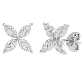 2 Carat Marquise Shape Moissanite Cluster Stud Earrings In 14 Karat White Gold