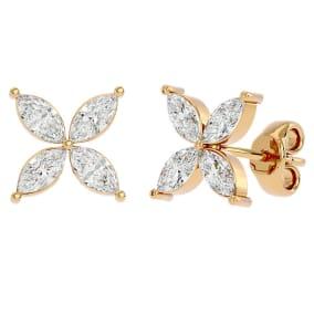 2 Carat Marquise Shape Moissanite Cluster Stud Earrings In 14 Karat Yellow Gold