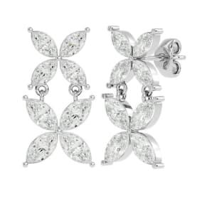 1 3/4 Carat Marquise Shape Moissanite Cluster Dangle Earrings In 14 Karat White Gold