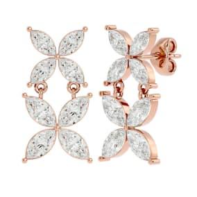 1 3/4 Carat Marquise Shape Moissanite Cluster Dangle Earrings In 14 Karat Rose Gold