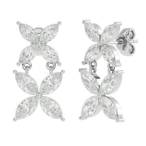 3 1/5 Carat Marquise Shape Diamond Cluster Dangle Earrings In 14 Karat White Gold