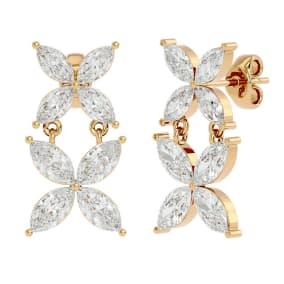 3 1/5 Carat Marquise Shape Diamond Cluster Dangle Earrings In 14 Karat Yellow Gold
