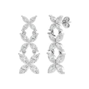 3 3/4 Carat Marquise Shape Moissanite Cluster Dangle Earrings In 14 Karat White Gold
