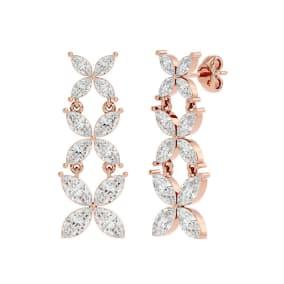 3 3/4 Carat Marquise Shape Moissanite Cluster Dangle Earrings In 14 Karat Rose Gold